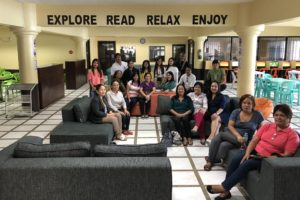 Staff from the Central Mindanao University Library take time to relax at the BukSU Library Learning Commons during their bench marking visit on June 14, 2018. BukSU Library photo