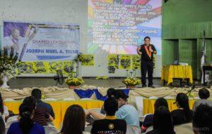 Inspirational speaker Mr. Joseph Noel A. Titar speaks before faculty and non-teaching staff of Bukidnon State University on July 6, 2018. Christopher P. Cordova/IPS