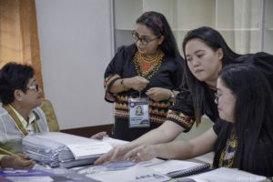Ms. Loreta Sol L. Dinlayan (csecond from left), responds to a query from one of the accreditors of the First Survey Visit for eight BukSU programs on June 18, 2019 Photo by Christopher P. Cordova/ICT-SU