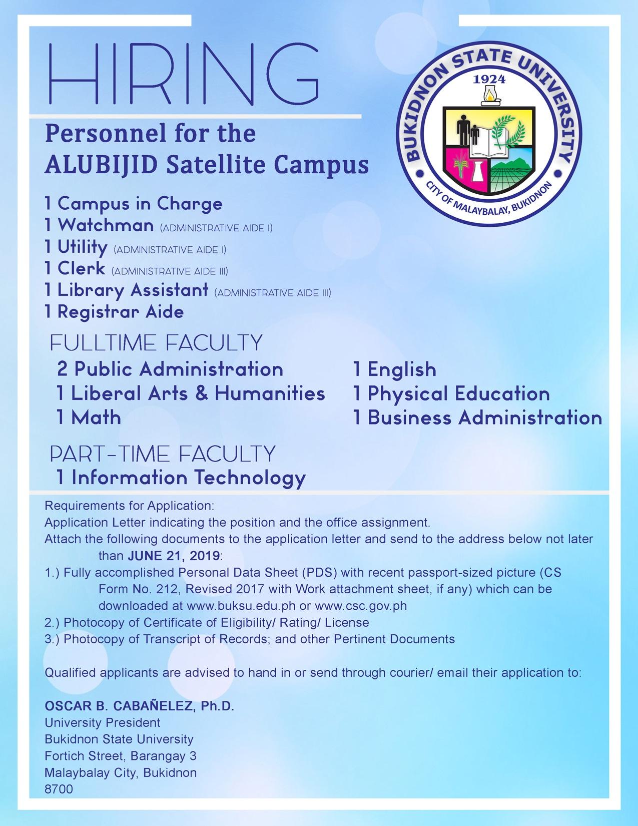 Notice of Hiring (Satellite Campus)