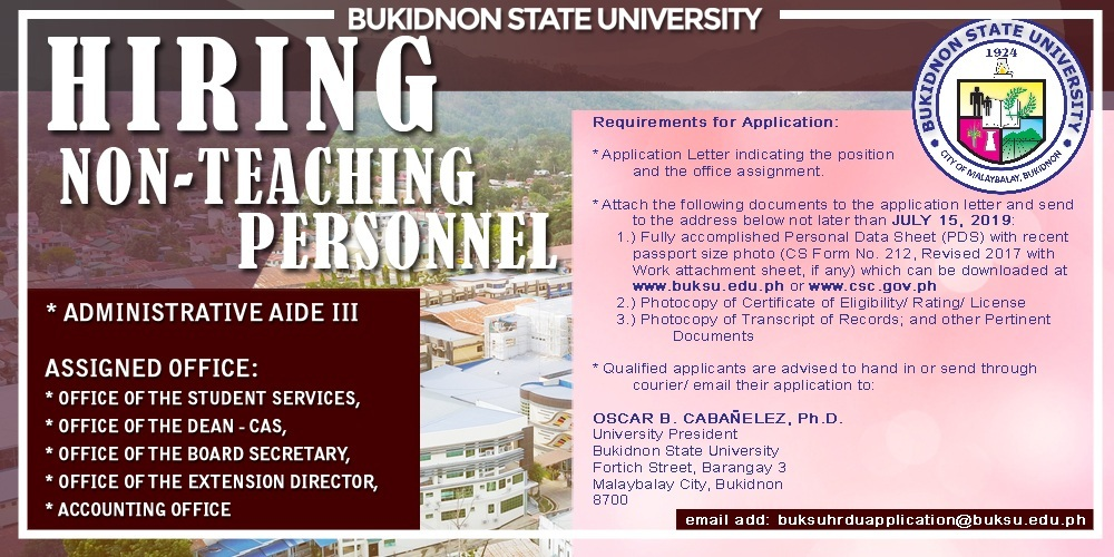 Notice of Hiring (Non-Teaching Personnel) – CLOSED