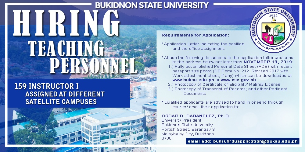 Notice of Hiring (Teaching Personnel) – CLOSED