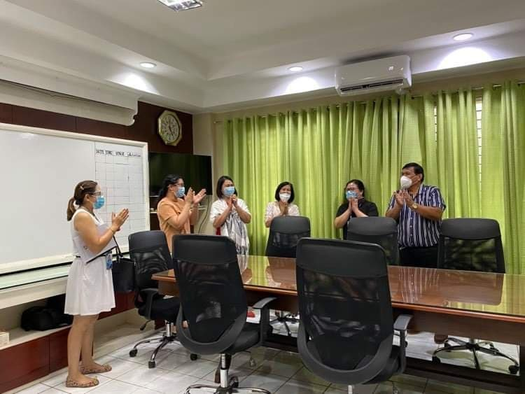BukSU Research Ethics Committee members bring the good news to university president Dr. Oscar B. Cabanelez/Courtesy of OVPREIA