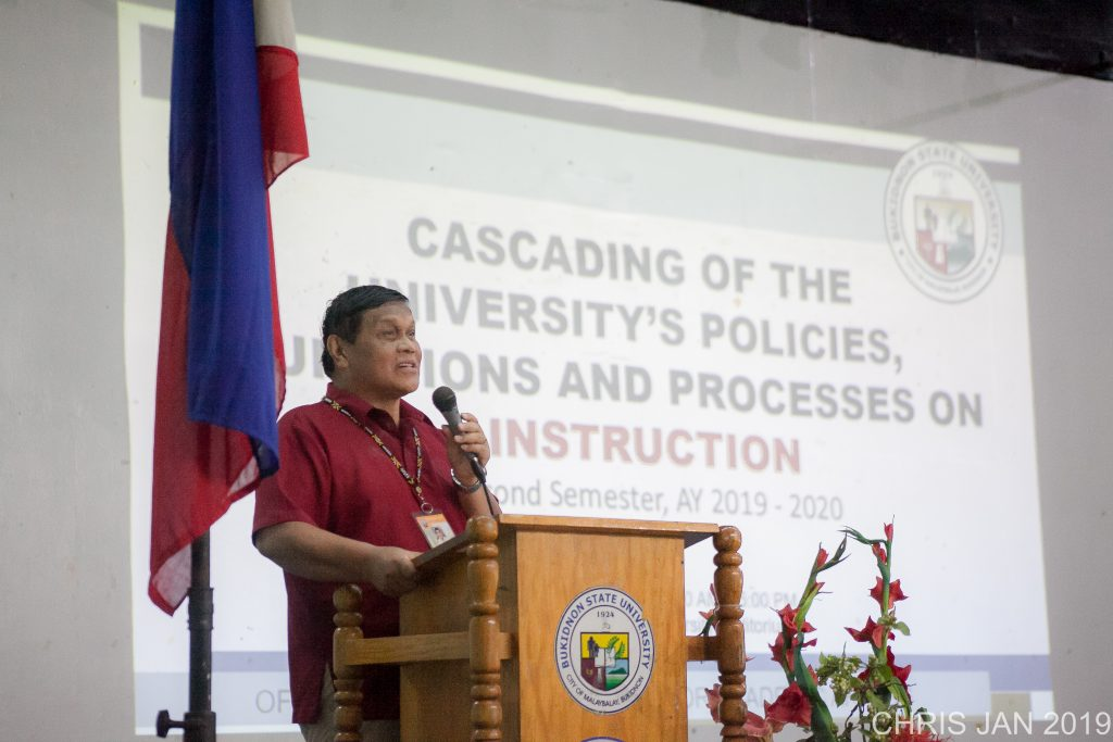 Dr. Oscar B. Cabańelez, president of Bukidnon State University, speaks during the cascading of university policies on January 14, 2020. File photo by Christopher P. Cordova for OP-IPS